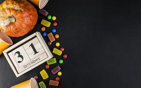 Picture glass, candy, Halloween, pumpkin, October