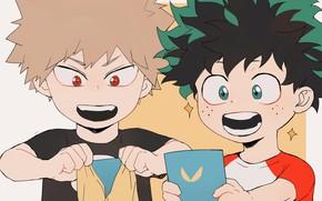 Picture children, My Hero Academia, Boku No Hero Academy, Midori Isuku, My Hero Academy, Bakuga Katsuki