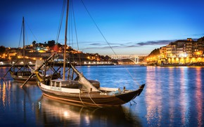 Picture the city, river, boats, the evening, lighting, Portugal, harbour, Port