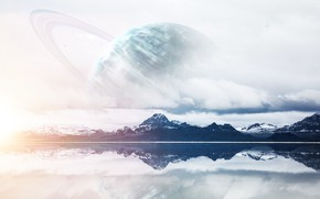 Picture Reflection, Mountains, Lake, Planet, View, Art, Art, Planet, Fiction, Uranium, Mountains, View, Lake, Reflection, Uranus, …
