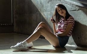 Picture look, pose, Asian, beautiful girl, look, beautiful girl, asian, sitting on the floor, pose, denim …