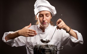 Picture girl, pose, background, couples, cook, pan, the smell, in white, uniform, redhead, prepares, ladle, closed …
