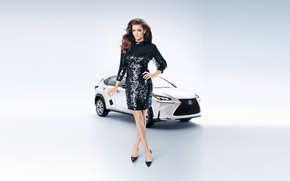 Picture look, Girls, beautiful girl, white car, Lexus NX, beautiful dress, posing on the background of …