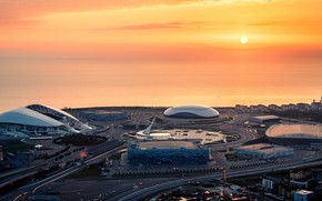Picture Sunset, Sea, The city, Stadium, Sochi, Washer, Fisht, the stadium fischt, Olympic Park, Medal Plaza, …
