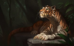 Picture forest, look, tiger, art, tail, claws, mutant, Fang