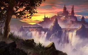 Picture The engine, Locomotive, Palace, Castle, Viaduct, Fantasy, Landscape, Architecture, Art, Concept Art, Waterfalls, Through, by ...