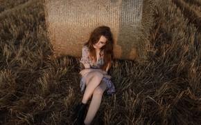 Picture girl, legs, sponge, in the field, Aleks Five