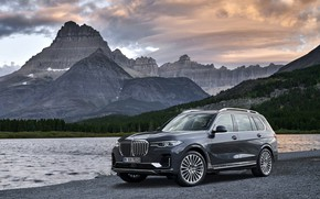 Picture mountains, BMW, pond, 2018, on the shore, crossover, SUV, 2019, BMW X7, X7, G07