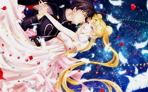Picture girl, romance, anime, art, pair, guy, two, Sailor Moon