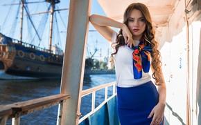 Picture look, ship, Girl, figure, Ekaterina Kononova, Dmitry Shulgin