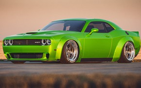Picture Auto, Green, Machine, Car, Dodge Challenger, SRT, Muscle, Transport & Vehicles, by Cameron Parmer, Cameron …