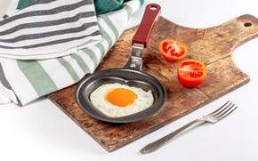 Picture Board, scrambled eggs, vegetables, tomato
