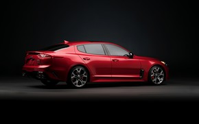Picture red, background, KIA, dark, Kia, the five-door, Stinger, Stinger GT, fastback, KIΛ