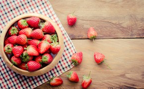 Picture strawberry, berry, bowl, napkin
