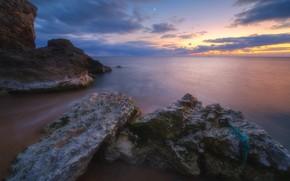 Picture sea, the sky, sunset, stones, shore, the evening, Crimea, Rev Alex