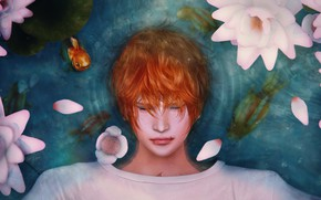 Picture water, flowers, Lily, guy