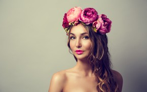 Picture look, girl, flowers, face, portrait, roses, wreath