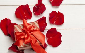 Picture table, gift, petals, tape