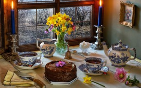 Picture flowers, table, tea, picture, candles, kettle, window, the tea party, Cup, cake, vase, still life