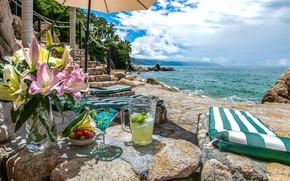 Picture sea, beach, flowers, stones, palm trees, Villa, drinks, terrace, Puerto Vallarta, Villa Bahia