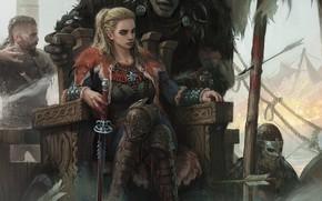 Picture girl, sword, fantasy, weapon, Warrior, blue eyes, men, blonde, artwork, shield, fantasy art, arrows, creature, …