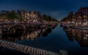 Picture bridge, reflection, building, home, Amsterdam, channel, Netherlands, night city, Amsterdam, Netherlands, The Brewers Canal, Brouwersgracht …