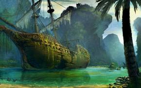 Picture algae, Palma, ship, Bay, abandoned, shipwreck, mysterious, mast, torn sails, rocky shore