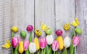 Picture flowers, eggs, colorful, Easter, tulips, happy, pink, flowers, tulips, Easter, eggs