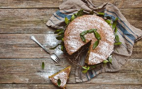 Picture pie, wood, cakes, leaves, dessert, powdered sugar, biscuit, decoration