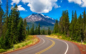Picture road, trees, mountain, Oregon, Oregon, The cascade mountains, stratovolcano, Cascade Range, Mount Bachelor, Mount Bachelor
