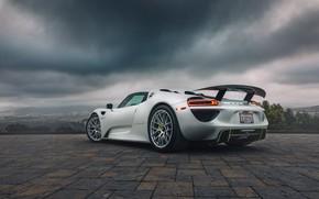 Picture white, hypercar, Porsche 918