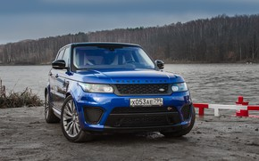 Picture car, machine, forest, water, SUV, Range Rover, front, blue car, Academeg, Range Rover SVR