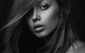 Picture black & white, girl, photo, photographer, monochrome, model, bokeh, lips, brunette, b&w, portrait, mouth, close …