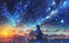 Picture girl, sunset, the city, Starfall