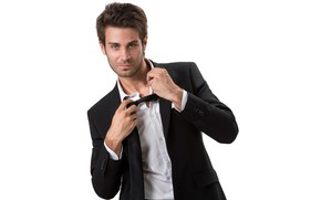 Picture look, pose, costume, tie, white background, male, shirt, guy, jacket