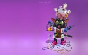 Picture cat, minimalism, art, Professor, children's, inventor, Nelly Amosova, Mad cat scientist, fantasica