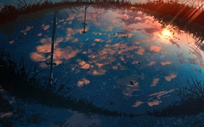 Picture water, sunset, nature, reflection