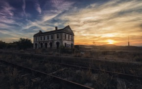 Picture sunset, station, railroad