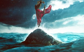 Picture sea, wave, the sky, girl, squirt, clouds, pose, stones, jump, skirt, dance, barefoot, Mike, figure, …