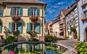 Picture pond, France, home, village, Eguisheim