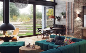 Picture interior, fireplace, living room, dining room, Los Angeles