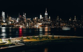 Picture city, lights, USA, river, night, New York, NYC, New York City, Empire State Building, Chrysler …