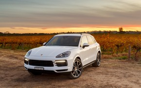 Picture sunset, Porsche, 2018, crossover, Cayenne S