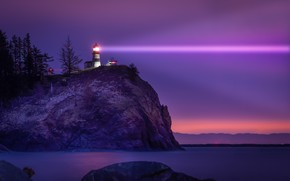 Picture light, landscape, night, nature, rock, the ocean, lighthouse, USA