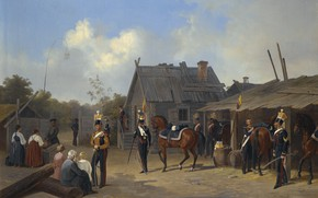 Picture 1843, SOLDIERS BIVOUACKING IN A VILLAGE, Adolf Ignatevich Ladurner