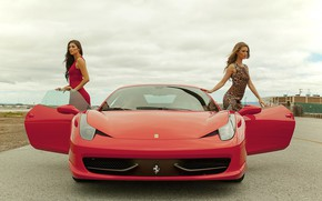 Picture auto, look, Girls, Ferrari, beautiful girls, posing over the car