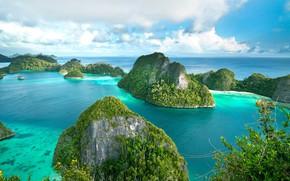 Picture sea, Islands, Indonesia, Pulau Wayag