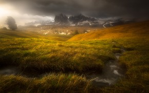 Picture mountains, clouds, stream, Alps, haze