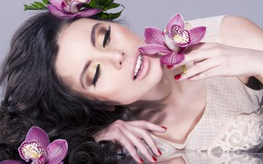 Picture flowers, background, hands, makeup, brunette, hairstyle, beauty, orchids, manicure