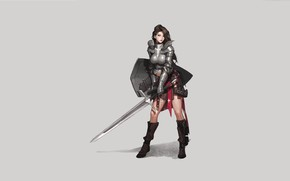 Picture Art, Paladin, Minimalism, Sword, Characters, Armor, Choe Yera, by Choe Yera